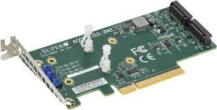 AOC-SLG3-2M2 Low Profile PCIe Riser Card supports 2 M.2 Module